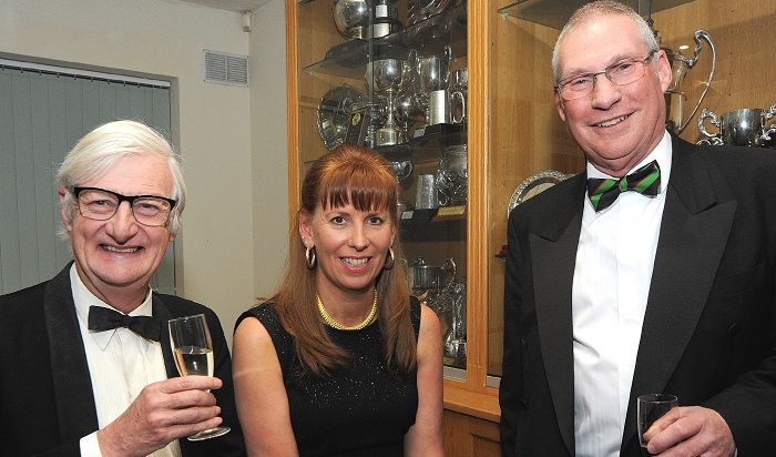 Club captain Colin Mantle with Seniors captain John Moxon and Ladies captain Cath Levell