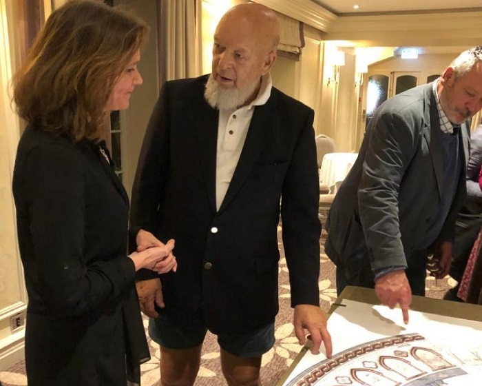 Ruth Ames-White discusses the design with Michael Eavis