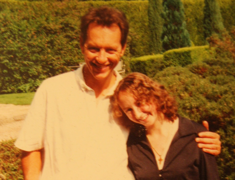 Richard E Grant with Trish, the daughter of owners Tim and Frances