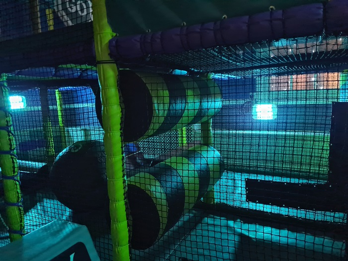 Play centre first with sterilising UV lamps