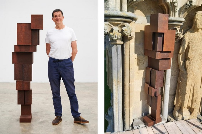 Sculptor Antony Gormley and his new work DOUBT; and the sculpture in place on Niche 338 (Picture left: Stephen White & Co)